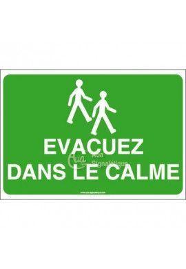 Panneau Evacuez dans le calme avec picto - AP