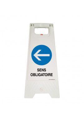 Chevalet de signalisation sens obligatoire gauche - Poids 1KG en plastique blanc