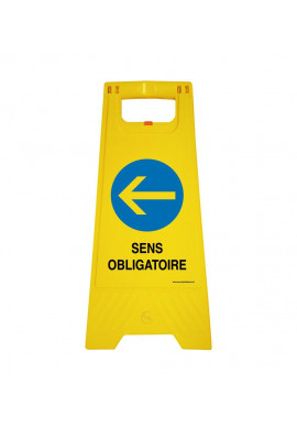 Chevalet de signalisation sens obligatoire gauche - Poids 1KG en plastique jaune