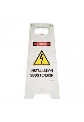 Chevalet de signalisation installation sous tension danger - Poids 1KG en plastique blanc