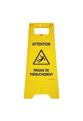 Chevalet de signalisation attention risque de trébuchement  - Poids 1KG en plastique jaune