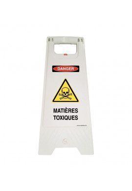 Chevalet de signalisation matières radioactives danger - Poids 1KG en plastique blanc