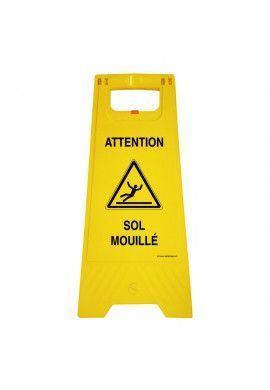 Chevalet de signalisation attention sol mouillé  - Poids 1KG en plastique jaune