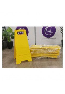 Chevalet signalisation vierge sans marquage - Poids 1KG en plastique jaune