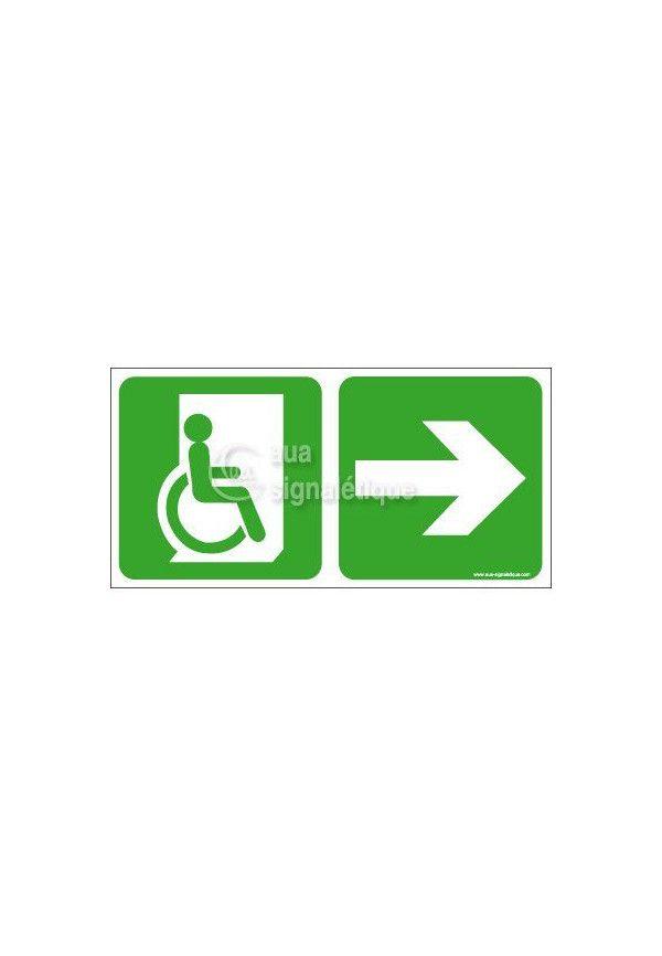 Panneau Direction de Sortie Handicapé, vers la droite