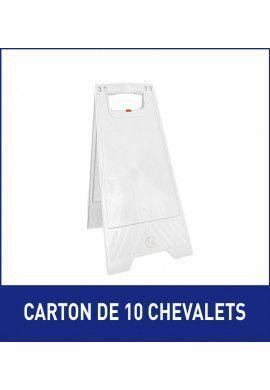 1 Carton de 10 Chevalets signalisation vierge sans marquage - Poids 1KG en plastique blanc