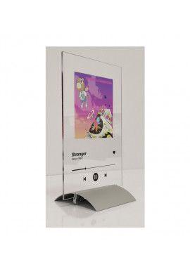 Plaque SPOTIFY Musique avec socle aluminium - écriture en NOIR personnalisée - Photo imprimée sur plexiglass transparent