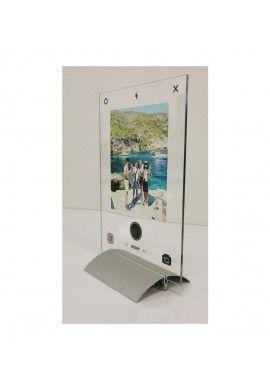 Plaque INSTA Photo personnalisée avec socle aluminium - Photo imprimée sur plexiglass transparent