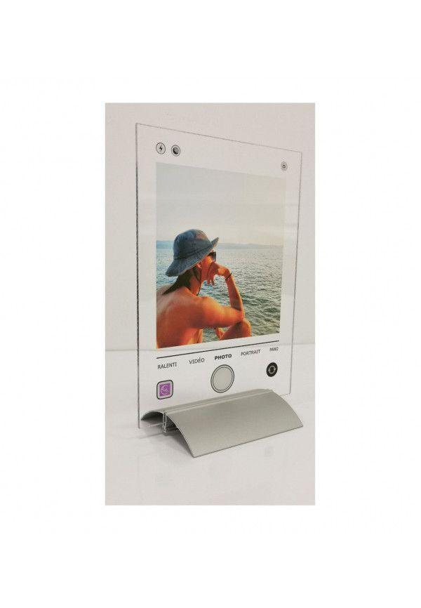 Plaque IPHONE Photo personnalisée avec socle aluminium - Photo imprimée sur plexiglass transparent