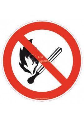 Panneau Flammes nues interdites, défense de fumer