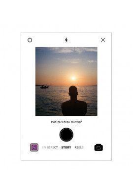 Plaque INSTA Photo SOUVENIRS avec texte personnalisé sans socle - Photo imprimée sur plexiglass transparent
