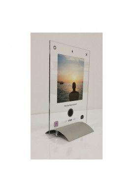 Plaque INSTA Photo SOUVENIRS avec texte personnalisé avec socle aluminium - Photo imprimée sur plexiglass transparent