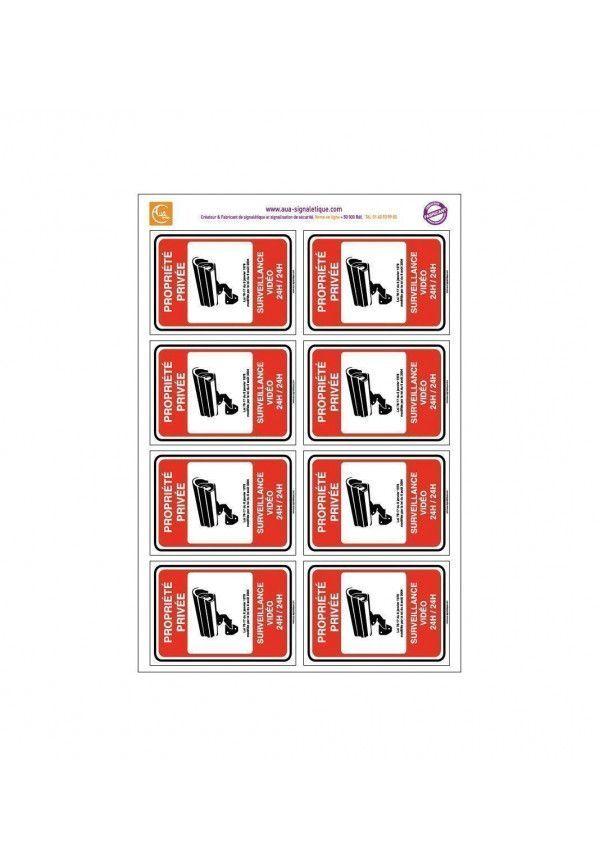 Lot de 2 planches de 8 autocollants - Propriété privée surveillance vidéo 24H/24H - 95 x 65 mm - sticker