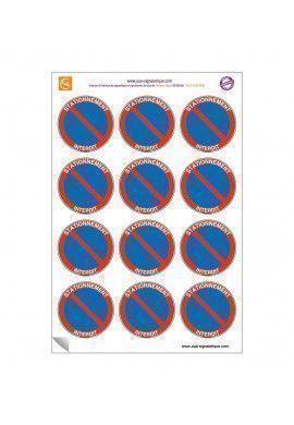 Planche de 12 autocollants - pictogramme Stationnement interdit -  Ø 60 mm - sticker vitre voiture