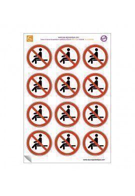 Planche de 12 autocollants - pictogramme Interdiction de s'asseoir -  Ø 60 mm - sticker à coller sur les chaises