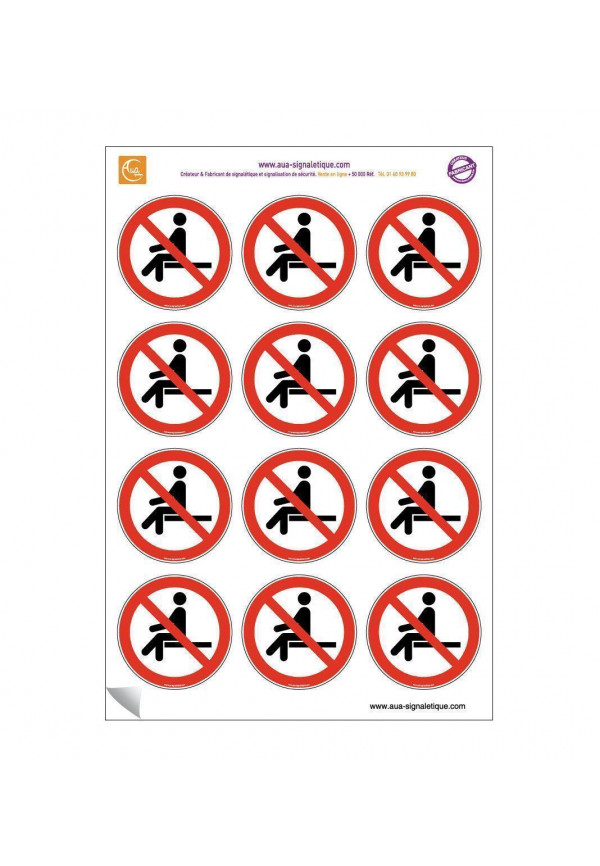 Planche de 12 autocollants - pictogramme Interdiction de s'asseoir -  Ø 60 mm - sticker à coller sur les chaises
