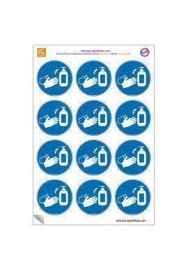 Planche de 12 autocollants - pictogramme Désinfection des mains obligatoire -  Ø 60 mm - sticker
