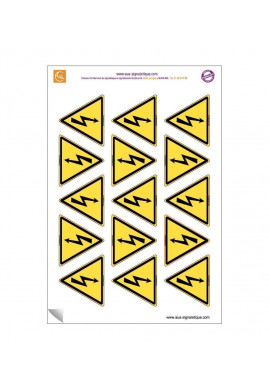 Planche de 15 autocollants - pictogramme Danger électricité - ISO 7010 W012 - Triangle base 60 mm hauteur 50 mm - sticker