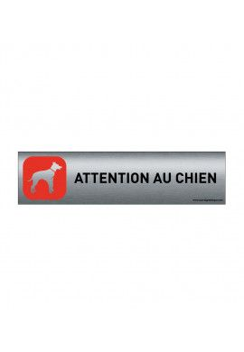 Plaque de porte Aluminium brossé imprimé AluSign - 200x50 mm - Attention au chien rouge - Double Face adhésif au dos