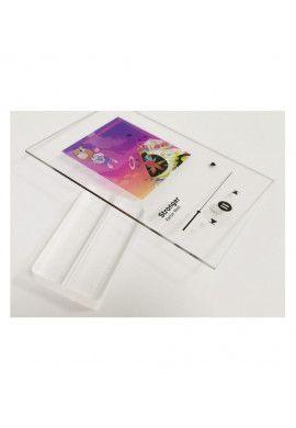 Plaque SPOTIFY Musique avec socle Plexiglass - écriture en NOIR personnalisée - Photo imprimée sur plexiglass transparent