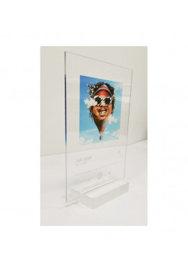 Plaque SPOTIFY Musique avec socle plexiglass - écriture en BLANC personnalisée - Photo imprimée sur plexiglass transparent