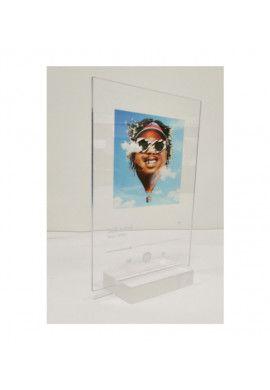 Plaque SPOTIFY Musique avec socle aluminium - écriture en BLANC personnalisée - Photo imprimée sur plexiglass transparent