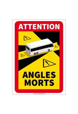 Lot de 3 Adhésifs signalisation Angles morts Autobus - autocollant laminé - 180 x 250 mm