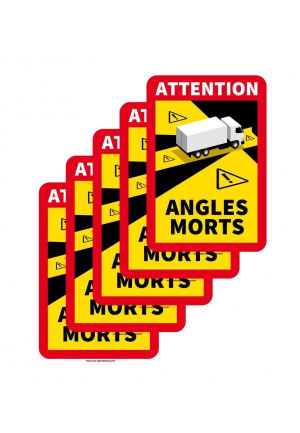 Lot de 5 Adhésifs signalisation Angles morts CAMION - autocollant laminé - 180 x 250 mm