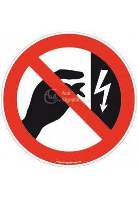 Panneau ne pas toucher boitier sous tension