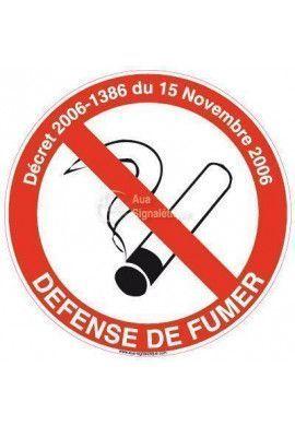 Panneau Défense de fumer avec Décret