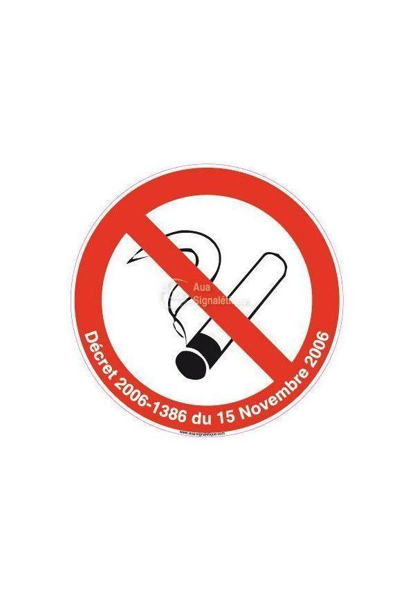 Panneau Interdiction de fumer avec décret