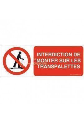 Panneau Interdiction de Monter sur les Transpalettes 02