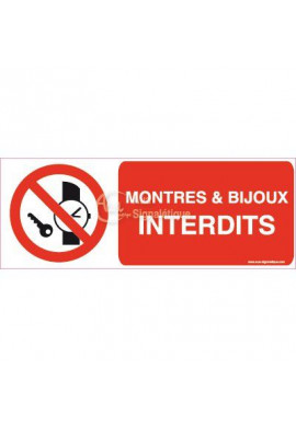 Panneau Montres & Bijoux Interdits