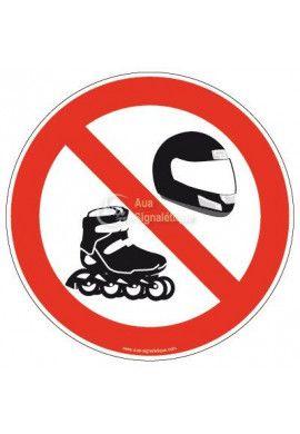 Panneau Interdiction au Casque & Rollers