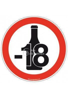 Panneau Alcool interdit aux moins de 18 ans