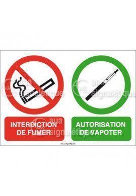 Panneau Interdiction de Fumer, Autorisation de Vapoter