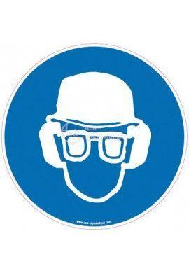 Panneau Casque, lunettes et anti-bruit obligatoires