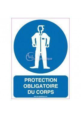 Protection obligatoire du corps avec texte