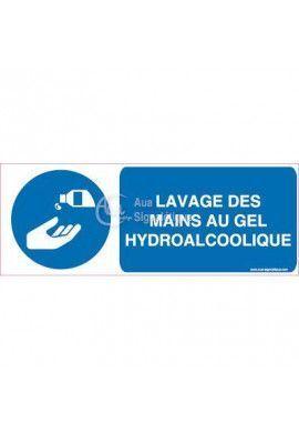 Panneau Lavage des Mains au Gel Hydroalcoolique Obligatoire