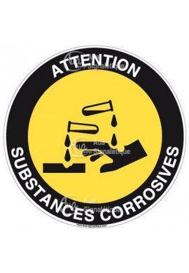 Panneau attention substances corrosives