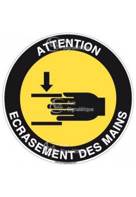 Panneau attention écrasement des mains