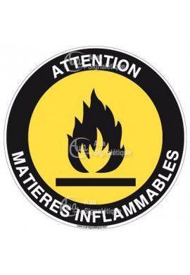 Panneau attention matières inflammables