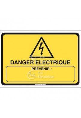Panneau danger électrique prévenir