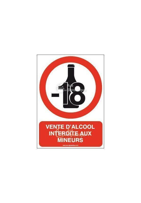 panneau vente d 39 alcool interdite aux mineurs vertical. Black Bedroom Furniture Sets. Home Design Ideas