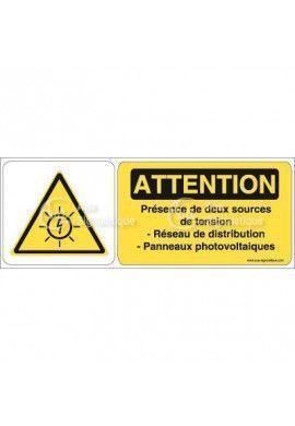 Panneau Attention présence de deux sources de tension - B