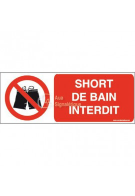 Panneau Short de bain interdit-B