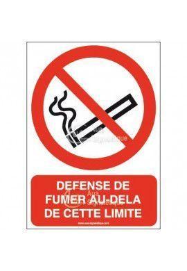 Panneau Défense de fumer au-delà de cette limite-AI