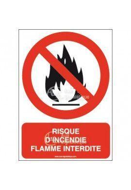 Panneau Risque d'incendie flamme interdite-AI