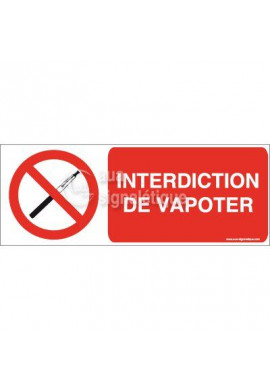 Panneau Interdiction de Vapoter - Horiz