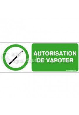 Panneau Autorisation de Vapoter - Horiz
